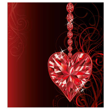 Love ruby heart wedding valentines day card Vector