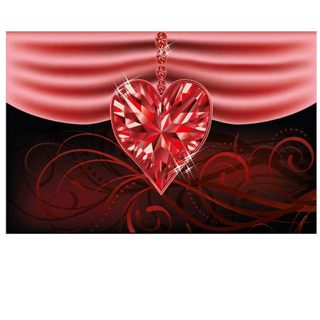 Love ruby heart valentines day card Vector