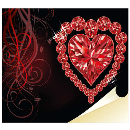 ruby stone: Ruby heart, wedding valentines day, vector illustration