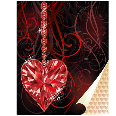 Ruby love heart wedding valentines day, vector illustration Vector