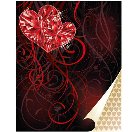 Two ruby hearts, love card, vector illustration Vector