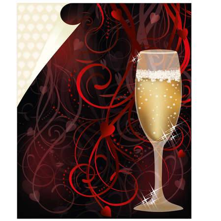 Valentines day love card with champagne, vector Vector