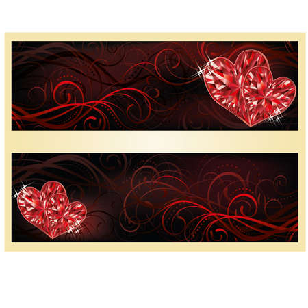 Love banners with two ruby hearts, vector illustration Vector