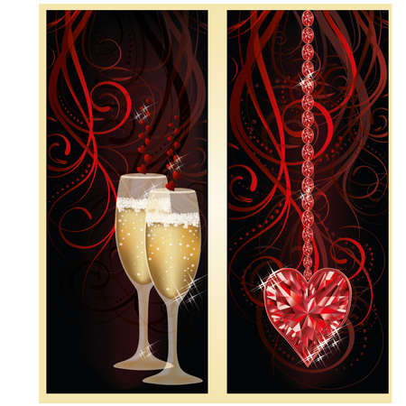 ruby: Love banners with champagne and ruby heart, vector illustration Illustration