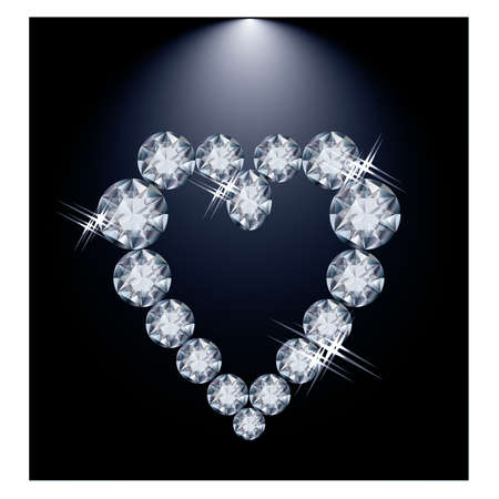coeur diamant: Love heart diamant, illustration vectorielle