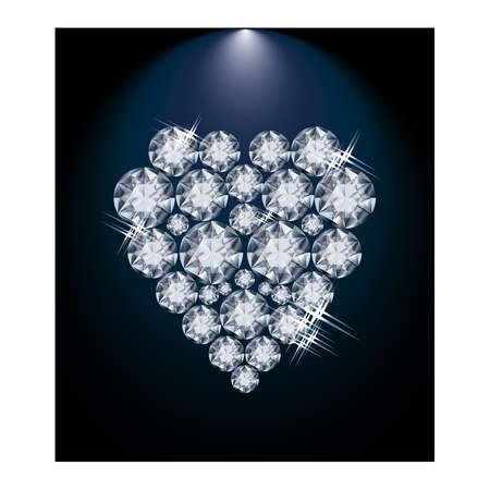 rich couple: Love diamond heart wedding card illustration