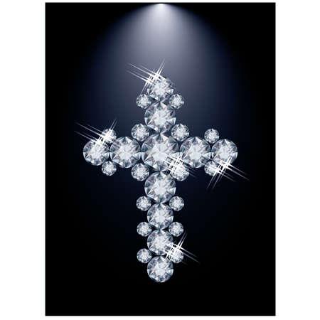 jeweled: Diamond Christian Cross illustration Illustration