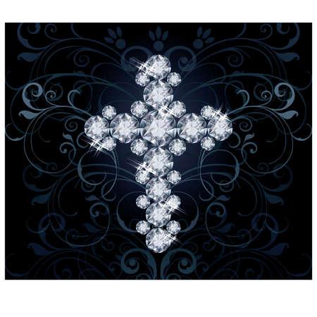 zircon: Diamond Christian Cross invitation card illustration
