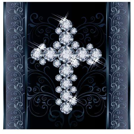 birthstone: Diamond Christian Cross greeting card illustration