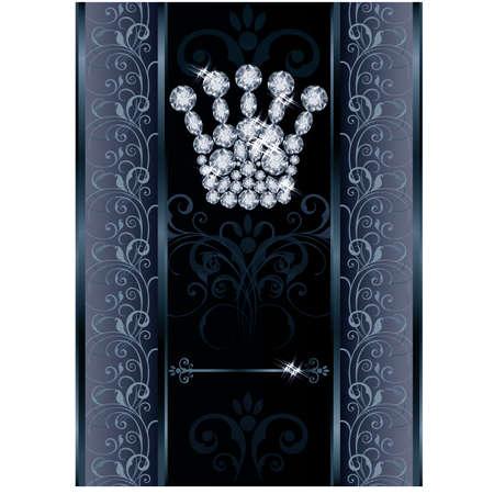 Diamond Queen crown VIP card illustration Vector