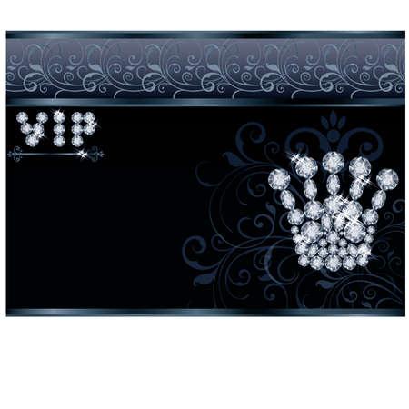 Brilliant Queen crown VIP card illustration Vector