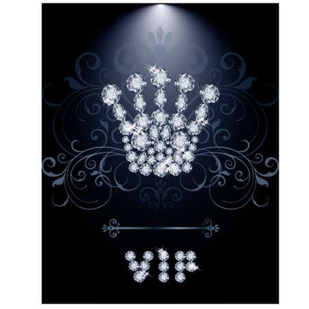 Diamond Queen crown VIP gift card, vector illustration Vector