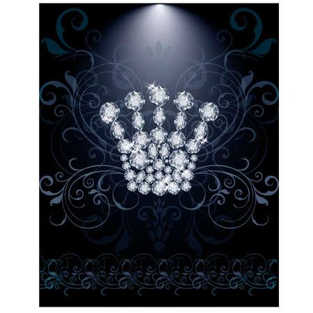 Diamond Queen crown VIP card, vector illustration Vector