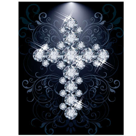 jeweled: Diamond Christian Cross, vip card, vector illustration