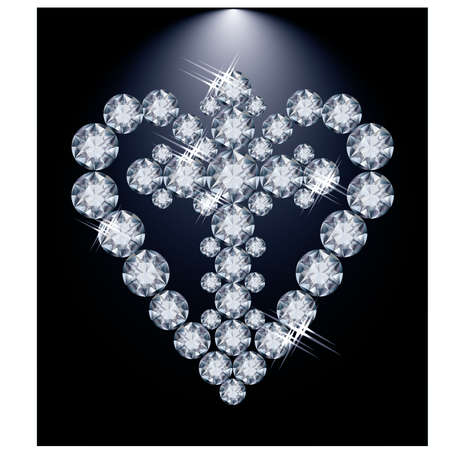Diamond heart and Christian Cross, vector illustration