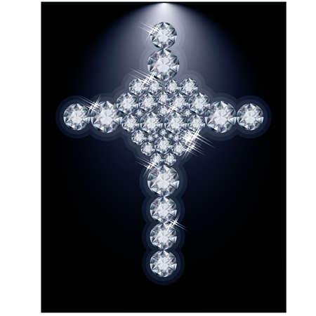 zircon: Brilliant heart and Christian Cross, vector illustration