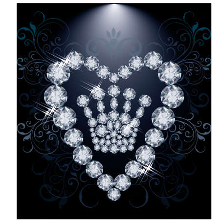 rich couple: Diamond Queen crown and heart, vector illustration