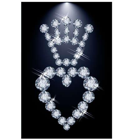 Brilliant diamond crown and heart, vector illustration Vector