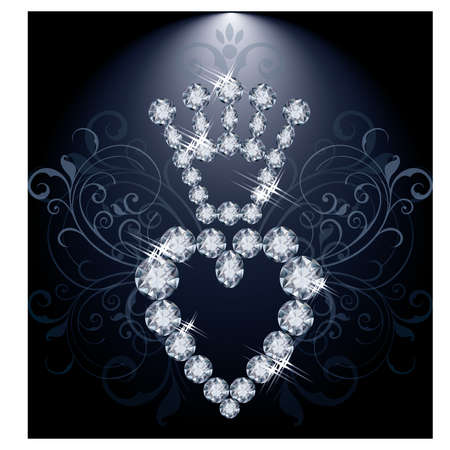 Diamond crown and heart, vector illustration Vector
