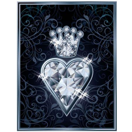 Diamond Poker hearts royal card, vector illustration Vector