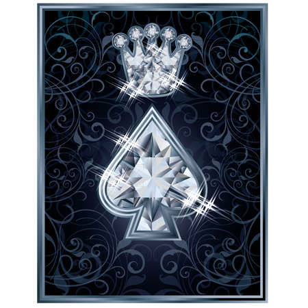 Diamond Poker spade royal card, vector illustration Vector