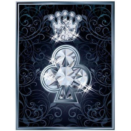 Diamond Poker clubs royal card, vector illustration Vector
