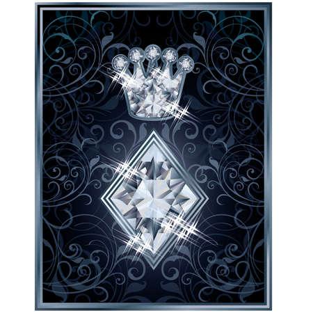 Diamond Poker diamonds royal card, vector illustration Vector