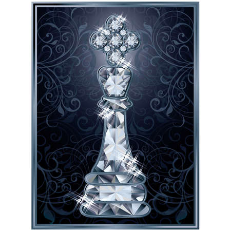 karat: Diamond chess King card, vector illustration Illustration