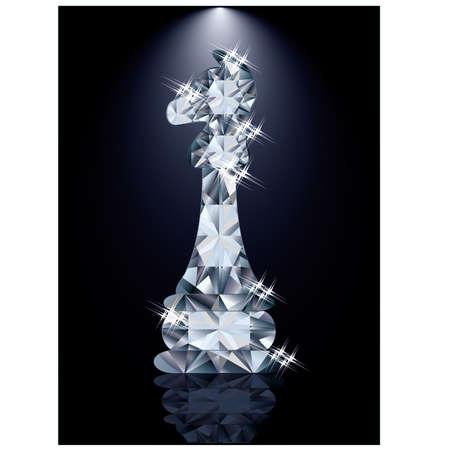 chess knight: Diamante scacchi Cavaliere, illustrazione vettoriale