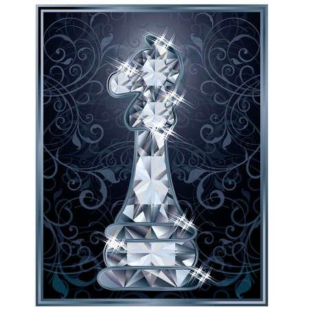 chess knight: Diamante scacchi carta Knight, illustrazione vettoriale