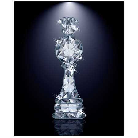 pawn shop: Diamond chess pawn with crown, vector illustration
