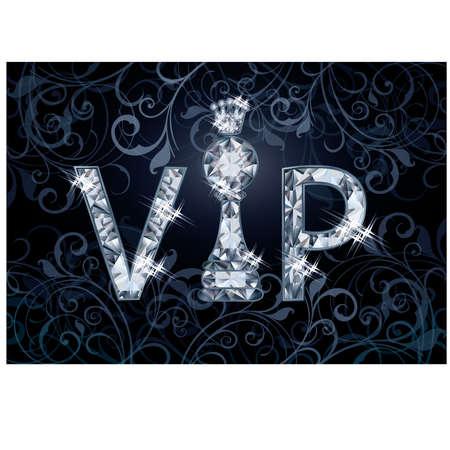pawn shop: Diamond VIP chess banner , vector illustration