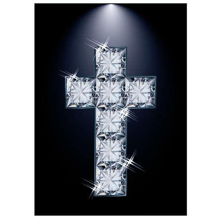 zircon: Cross diamond religion, vector illustration