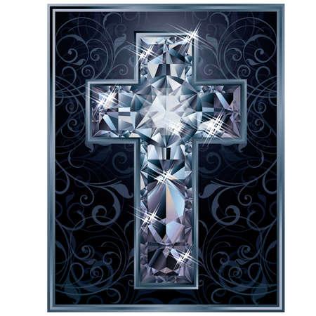 Christian Cross diamond card, vector illustration
