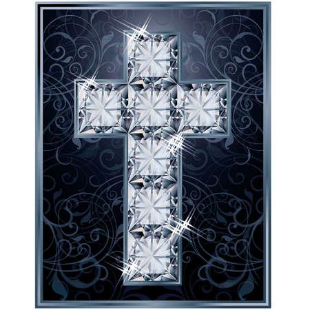 zircon: Cross diamonds cover design, vector illustration