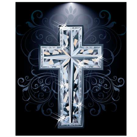 zircon: Christian diamonds Cross card, vector illustration Illustration
