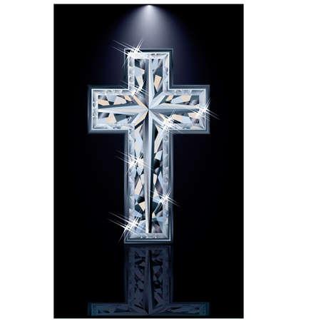 zircon: Christian diamonds Cross, vector illustration Illustration