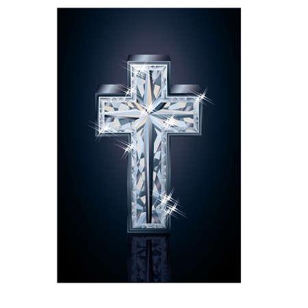 Diamond 3d cross cover design, vector illustration Illustration