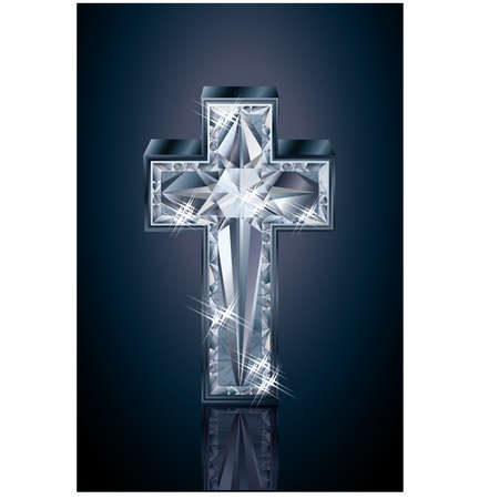 zircon: Diamond 3d cross, vector illustration