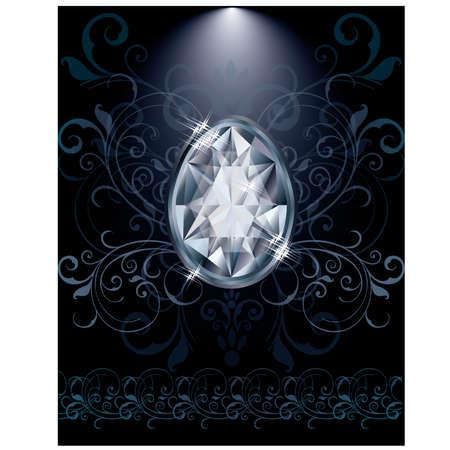 zircon: Diamond Easter egg greeting card, vector illustration Illustration