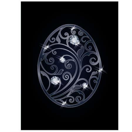 zircon: Easter egg with diamonds, vector illustration Illustration