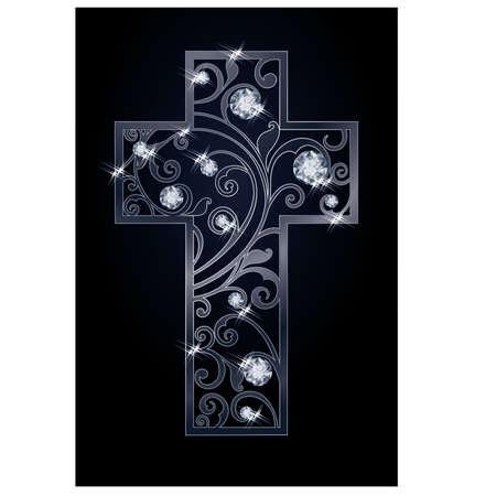 zircon: Easter cross with diamonds, vector illustration Illustration