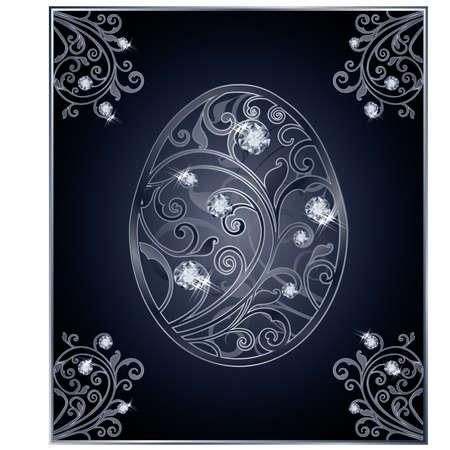 zircon: Diamond Easter egg invitation card, vector illustration