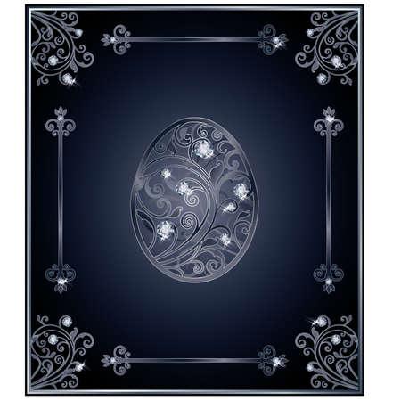 zircon: Diamond Easter egg cover design, vector illustration Illustration
