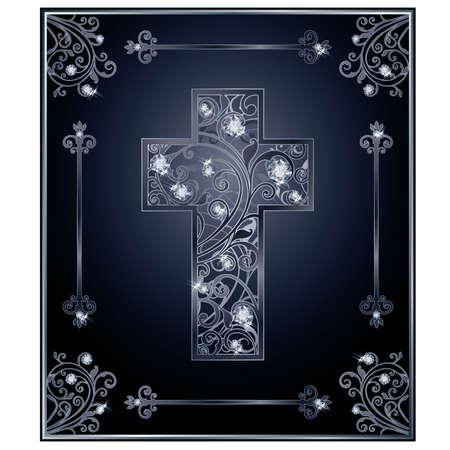 Diamond Easter cross cover design, vector illustration Illustration