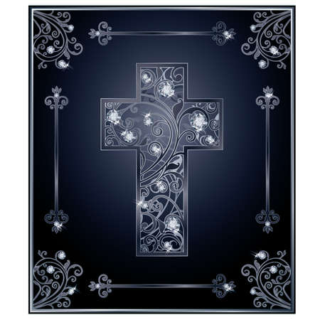 zircon: Diamond Easter cross cover design, vector illustration Illustration