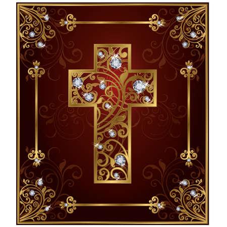 zircon: Golden diamond easter cross, illustration