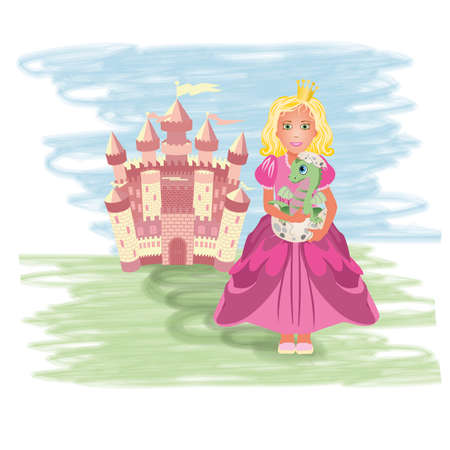 Cute princess with little dragon, vector illustration Vector