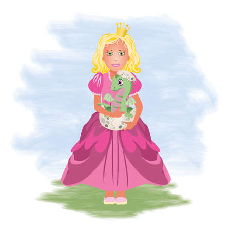 Little princess and dragon, vector illustration Vector