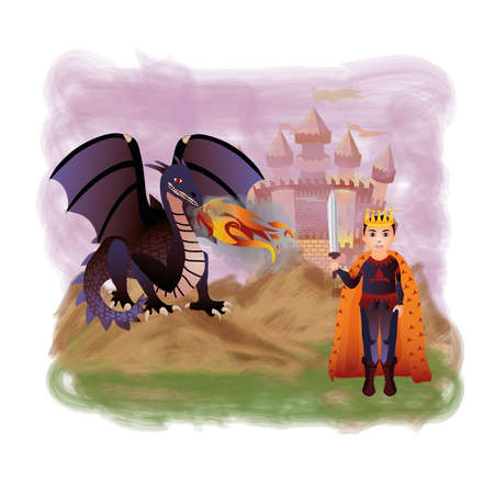 magic young: Young king and magic dragon, vector illustration